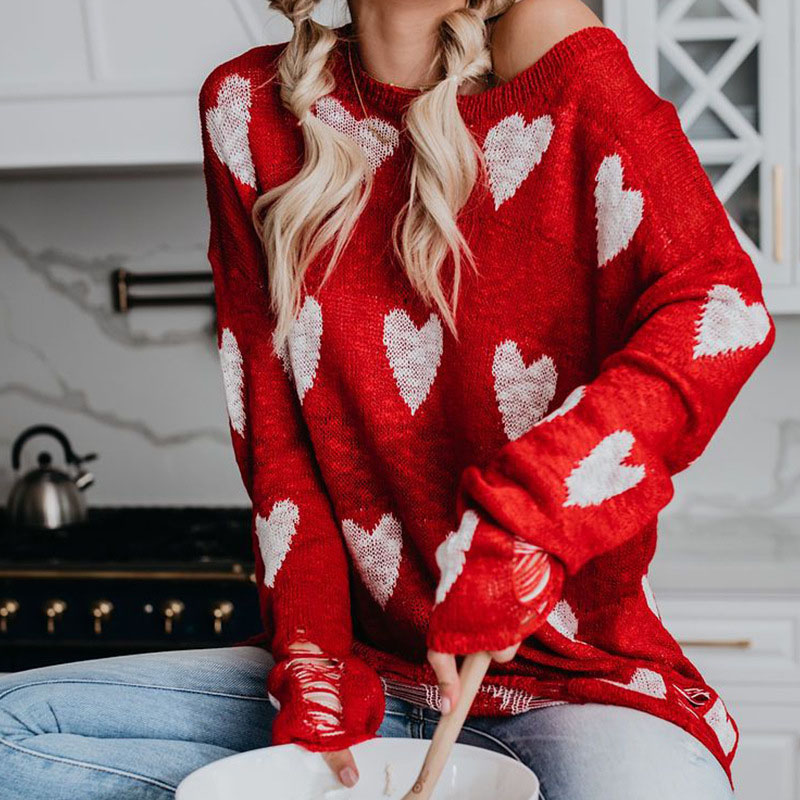 2019 New Plus Size 3XL O-Neck Love Pattern Casual Long Sleeve Red Knitting Sweater Loose Female Sweaters Fashion Women Clothing
