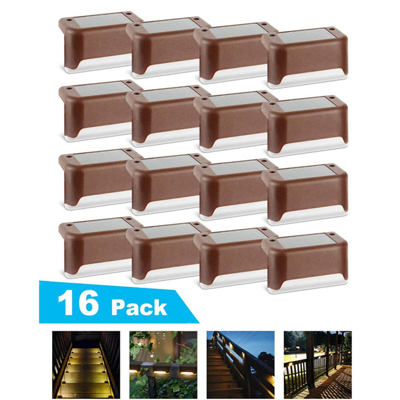16/8PCS Solar Deck Lights Solar Step Lights Outdoor Waterproof Led Solar Fence Lamp for Patio Stairs Garden Pathway Step Yard