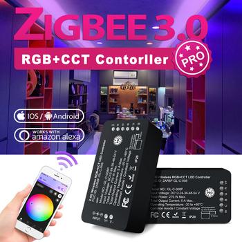 ZigBee 3 0 kontroler LED Pro RGBCCT kontroler pasków inteligentna aplikacja sterowanie głosem praca z pilotem RF do taśmy LED tanie i dobre opinie CN (pochodzenie) APP control Voice control remote control 008P Kontroler RGB 2years 270W LED Strip ROHS 50-60HZ 120W (DC24V)