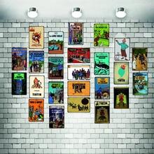 Tintin Cartoon Metal  Signs Plaque Vintage Wall Pub Kids Room Home Art Party Decor Iron Poster Cuadros DU2981A