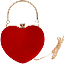 цена на small red shoulder bag Heart Shaped Diamonds Women Evening Bags Chain Shoulder Purse Day Clutches Evening Bags For Party Wedding