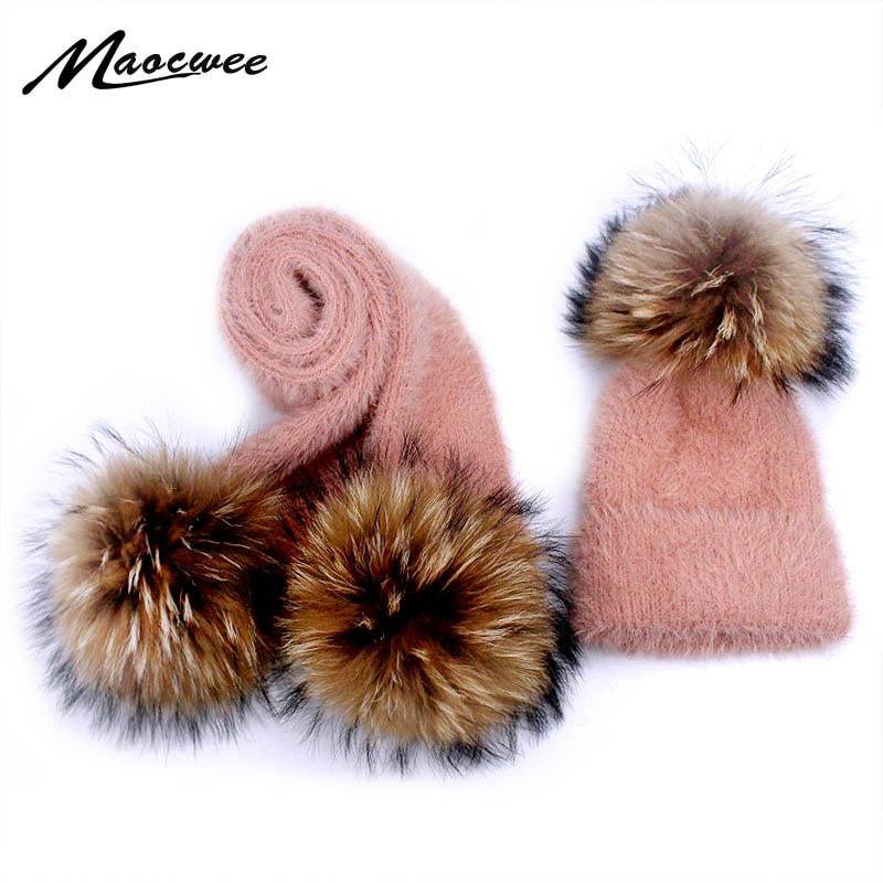 Winter Real Fur Pompon Mink Hair Beanie Hat Scarf Set For Children Women Outdoor Warm Soft Crochet Skullies Beanies Hats Scarf