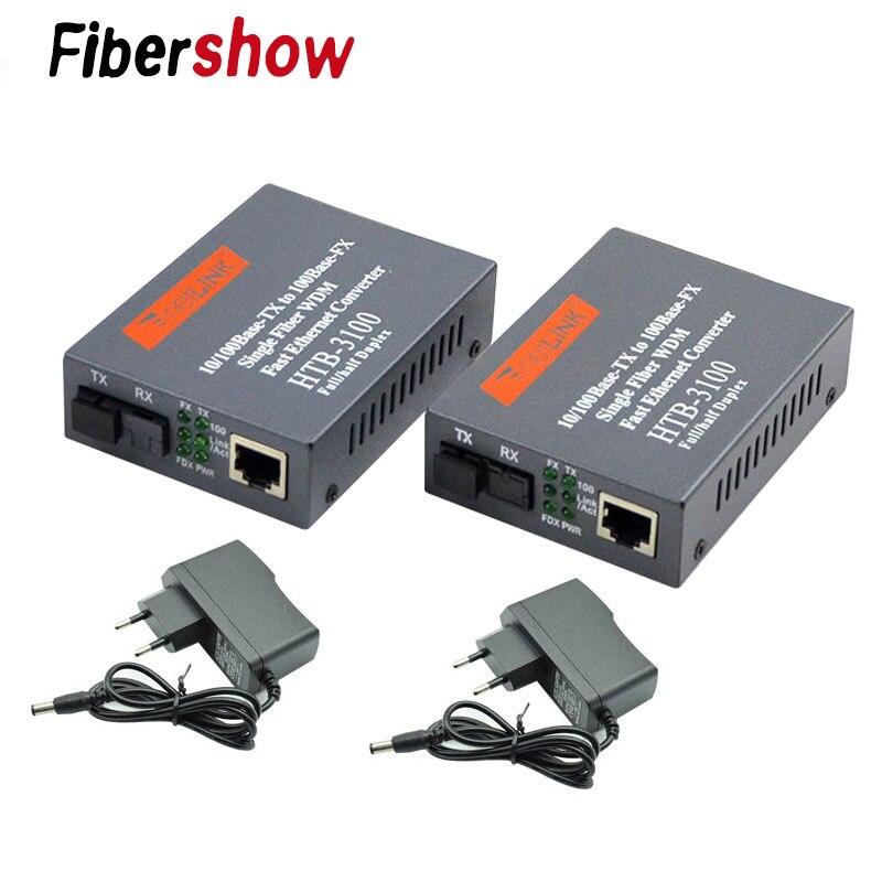 1 paar Media Konverter HTB-3 100 Faser Optische Single mode single Fiber SC Port 20 KM Externe Netzteil 10 /100 M