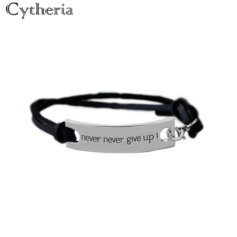 never never give up Bracelets Simple spuare Bangles Leather Velvet Bracelet Letter persistence Bracelet men Inspired excitation