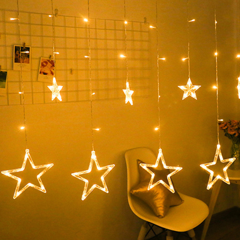 2.5M 138 Leds Star Moon Fairy Lights Christmas String Light Garland Led Home Star For Wedding/home/party/birthday/garland Decor