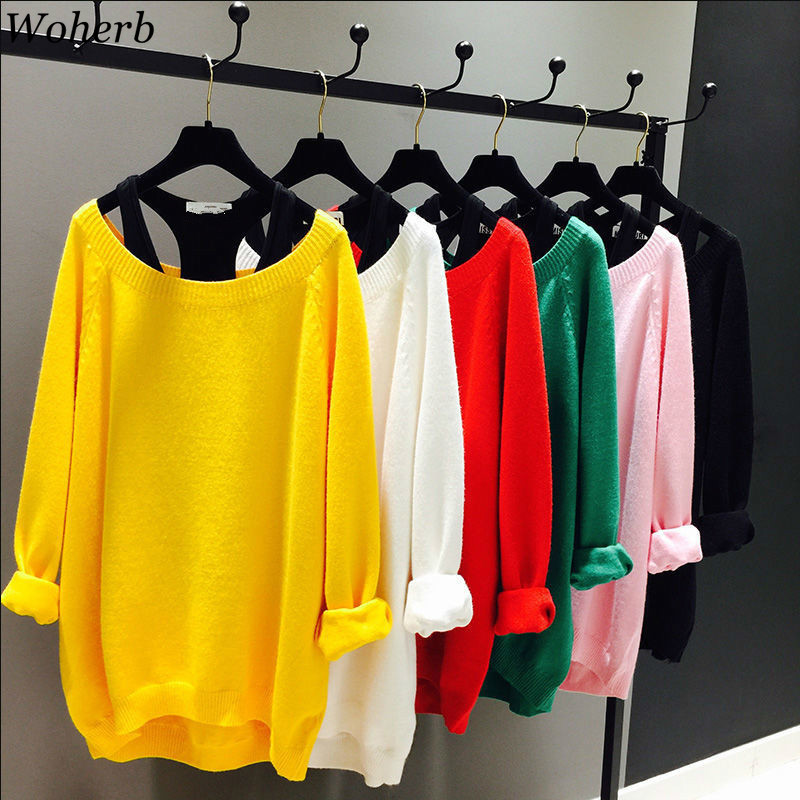 Woherb Autumn Oversized Sweater For Women 2 Pieces Vest+ Pullover 2020 Batwing Long Sleeve Winter Clothes Knitted Jumper Tops