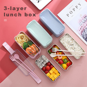 3 Layer Portable Lunch Box 900ml for Kids Wheat Straw Tiffin Bento Boxes Microwave Dinnerware Food Storage Lunchbox BPA Free