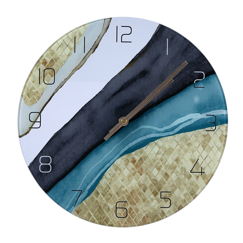 Wall Clocks Silent Quartz Circular Glass Hanging Clock Modern Design Multi-Colored Home Decor Glass Wall Clock