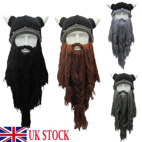 2019 Hirigin Brand Knit Viking Beard Horn Hat Crazy Ski Cap Barbarian Beanie Halloween UK