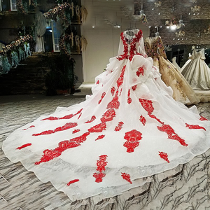 Image 2 - LS67890 party jurken geborduurd met stenen rode applique kralen lange mouwen lange trein prom avondjurk china groothandel 2018