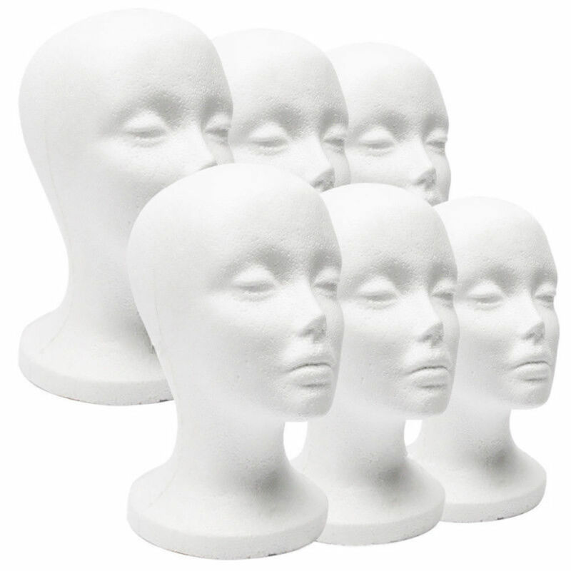 Female Styrofoam Mannequin Wig Glasses Hat Display Stand Popular Foam Head Model Storage Holders White 1Pc Wig Stands