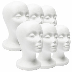 Female Styrofoam Mannequin Wig Glasses Hat Display Stand Popular Foam Head Model Storage Holders White 1Pc Wig Stands(China)