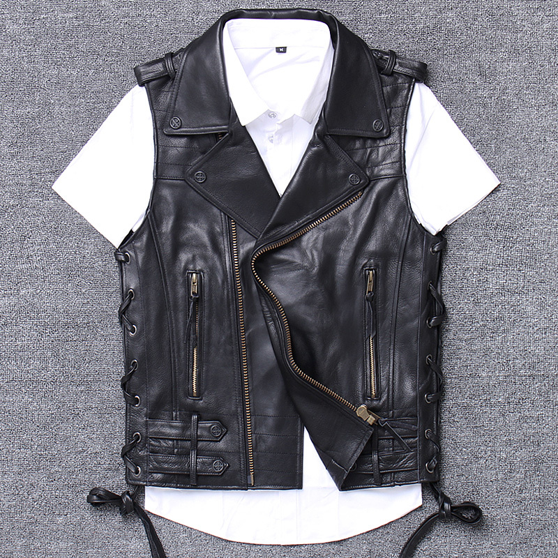 leather clothing male oblique zipper short fund cowboy skin head layer cowhide self-cultivation vest halley genuine