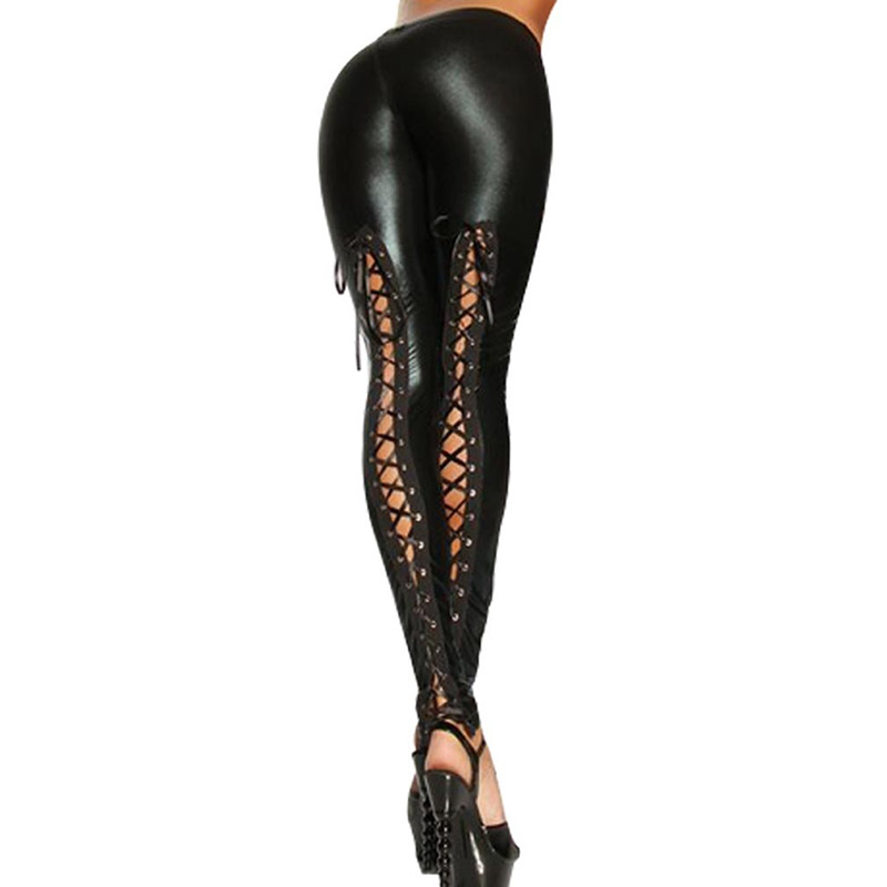 Newly Punk Leggings Women Sexy Like Lace Black Faux Leather Gothic Wet Look Clubwear Latex Legging Pants FIF66