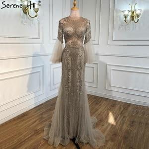 Image 3 - Sereine colline élégant gris sirène de luxe manches longues 2020 perles tenue de fête Fromal robe de soirée robes pour les femmes LA70289