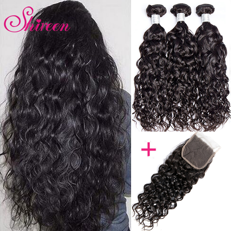 Shireen Hair Brazilian Water Wave Bundles With Closure Non-Remy Human Hair Deal 3 Bundles With 4x4 Lace Closure Hair Weave