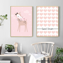 Cute Deer Cartoon Canvas Painting Pink Heart Wall Art Print Sweet Dream Nursery Poster Pictures Baby Girl Home Decor