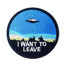 Outer space X-Files I Want To Blieve UFO patch Iron On Embroidered Clothes Patches For Clothing Badges Stickers wholesale(China)