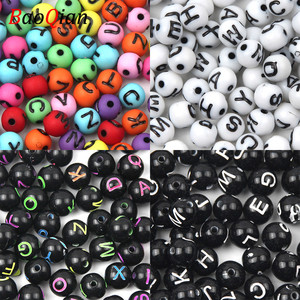 100Pcs/lot 8mm Random Letter Alphabet Beads Acrylic Loose Round Ball Spacer Beads For DIY Necklace Bracelet Jewelry Making