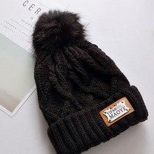 Winter Hat For Women Knitted Skullie Beanies Cap Pom Pom Ball Hat Cap Outdoor Black Thicken Hat Girl 's Female Cap