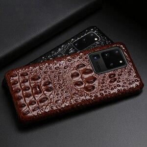Image 3 - Skórzany futerał na telefon dla Samsung Galaxy S20 Ultra S7 S8 S9 S10 Lite S10e uwaga 8 9 10 20 Plus A20 A50 A70 A51 A71 A8 głowa krokodyla