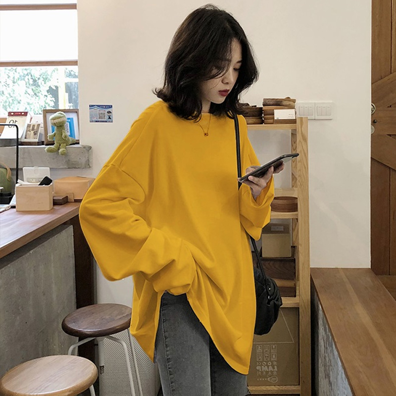 Oversized Tshirt Tops 90s Long-Sleeve Harajuku White Yellow Simple Kawaii Solid Autumn title=