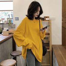 2021 spring Solid Simple oversized tshirt harajuku long T Shirt Women kawaii T-shirts Women 90s White yellow long Sleeve Tops