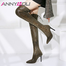 ANNYMOLI Autumn Thigh High Boots Women Snake Print Thin High Heels Over the Knee Boots Sexy Slim Stretch Zipper Shoes Ladies 39 summer leopard sexy thin high heels boots satin stretch elastic over the knee sky blue slim high heels long boots women shoes