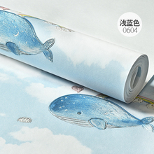 children's room boys and girls non-woven bedroom wallpaper living room wall rollsWarm whale cartoon British wind wallpaper environmental protection non woven wallpaper children s room cartoon color lovely dot wall paper 3d boys and girls bedroom decor