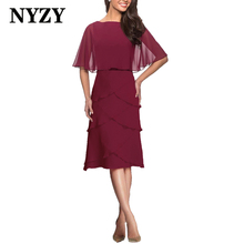 NYZY M301 Elegant Cape Sleeves Chiffon Burgundy Summer Mother of the Bride Dresses Short 2020 Wedding Party Dress Guest Wear