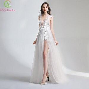 Image 3 - SSYFashion לבן תחרה שמלת ערב סקסי צווארון V ללא משענת חוף שמלת Vestido דה פיאסטה משתה פרח המפלגה במלאי