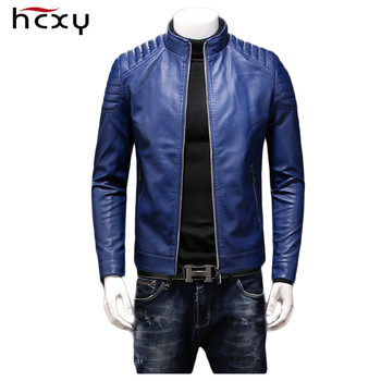 HCXY 2019 Autumn Mens Leather Jackets Coats Men Outwear High quality PU Windproof Waterproof Slim Fit College Luxury