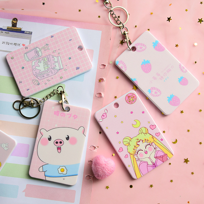 Cute Girl ID Card Holder Cartoon Student Bus Card Holder Cover Pink Pig Campus Card Guard Card Case Pink Bell Pendant