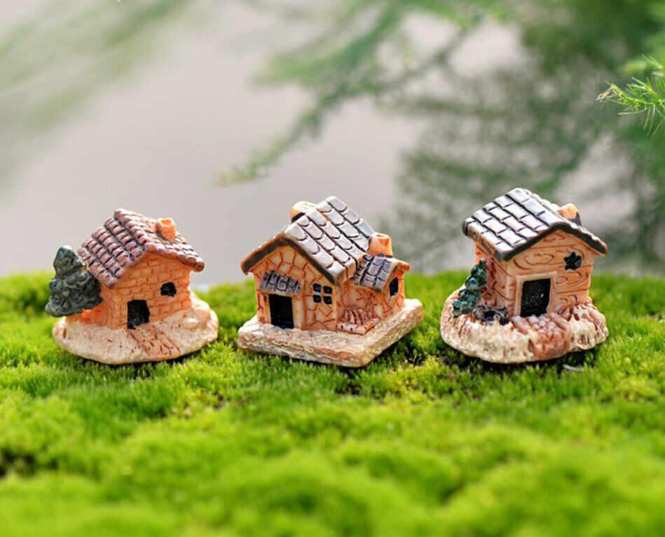 Rumah Boneka Mini Rumah Kecil Cottage Mainan DIY Kerajinan Gambar Moss Terarium Fairy Ornamen Taman Lanskap Dekorasi Warna Acak