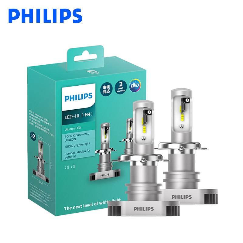 Philips LED H4 H7 H8 H11 H16 9003 Ultinon LED 6000K Cool Blue White Light +160% Brighter Car Headlight Compact Design, Pair