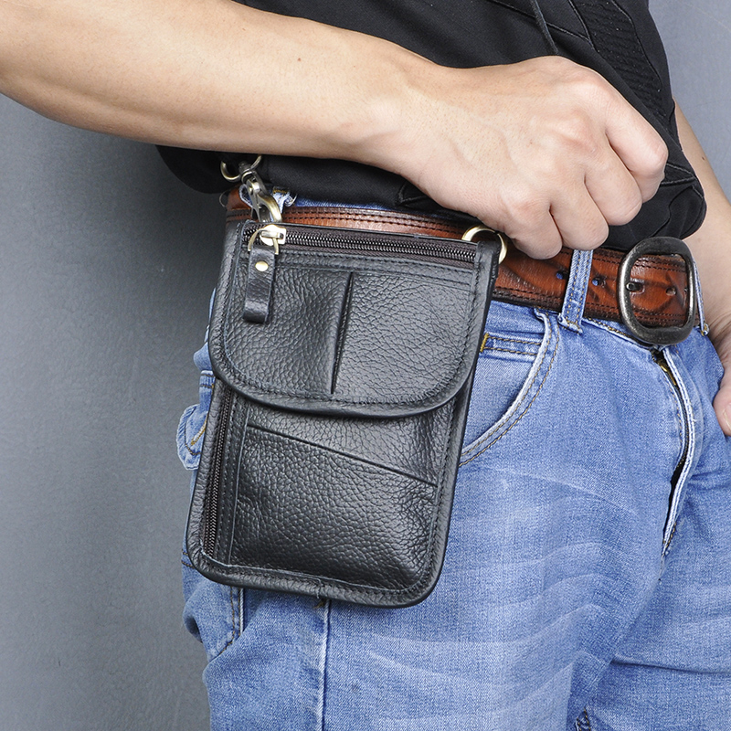 Fashion Real Genuine Leather Hook Waist Pack Cross-body Bag 6