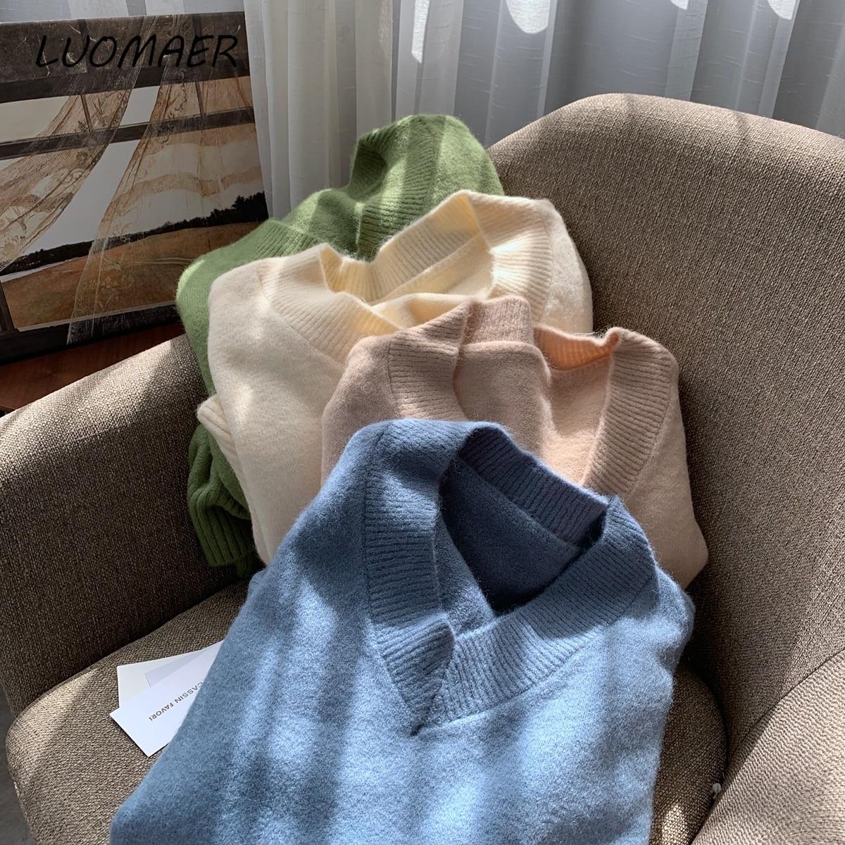 Купить женский вязаный свитер с v образным вырезом свободный зимний