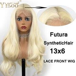 YYsoo pelucas largas 13X6 con parte Frontal de encaje sintético ondulado para mujer, pelucas de pelo de fibra Frontal de encaje Rubio japonés para uso diario