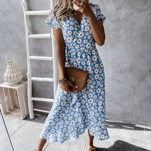 Summer Retro Floral Print Party Dress Women V Neck Casual Lace-up Belted Long Dress Summer Short Sleeve Loose Maxi Beach Dress