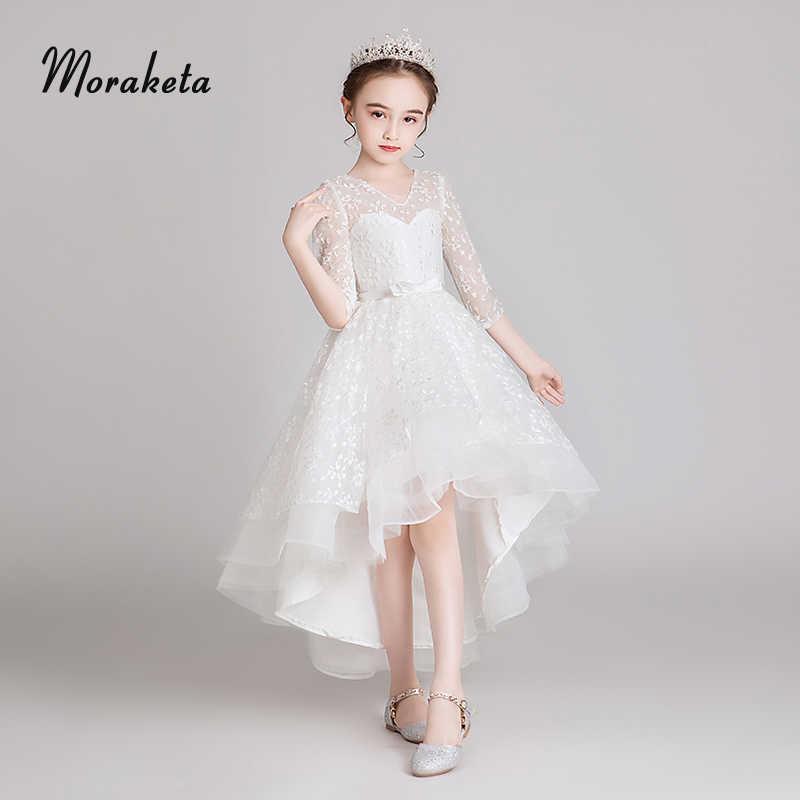 Vestidos De Princesa De Encaje Blanco Flor Niña Vestidos Cortos De Espalda Larga Primera Comunión Para Niñas Alto Bajo Niño Vestidos De Desfile
