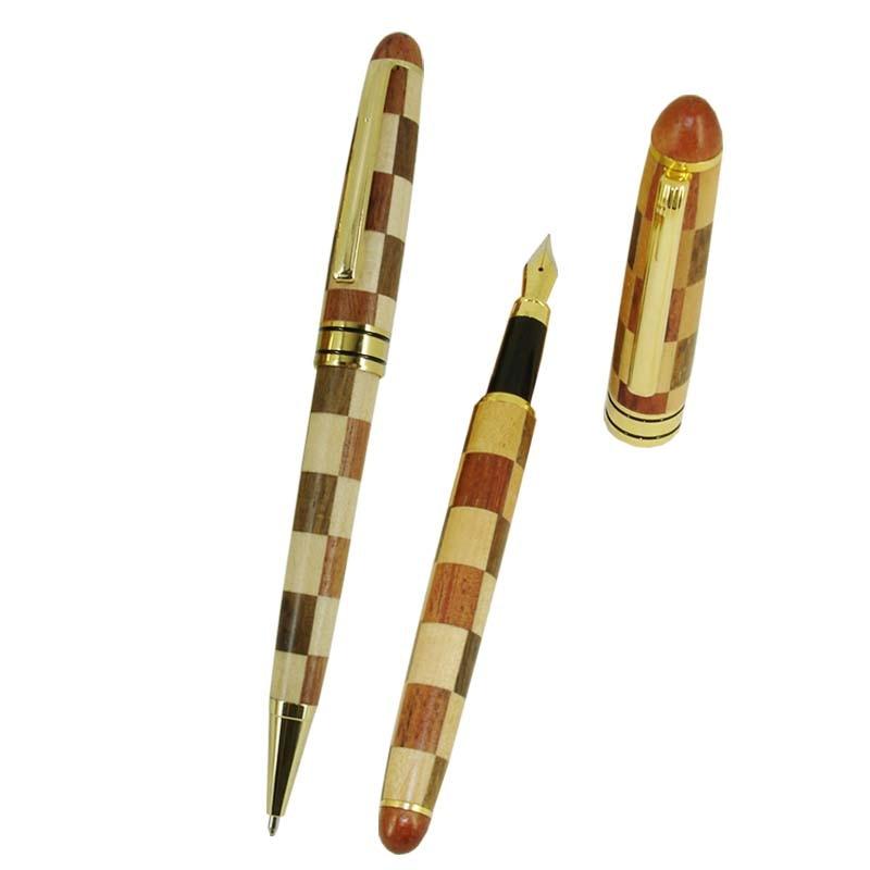 ACMECN 2pcs / lot Cool Patchwork Wood Ball Pen & Fountain Pen Sets Natural Eco-friendly Pen and Liquid Ink Pen Wood Stationery