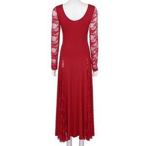 Image 3 - TiaoBug ผู้หญิงผู้ใหญ่ Ballroom Dress แขนยาวลูกไม้ Splice พรหม Rave Party มาตรฐาน Waltz Tango Modern การแข่งขันชุดเต้นรำ