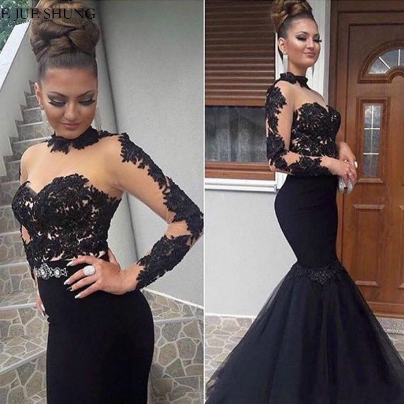 E JUE SHUNG Black Lace Appliques Long Evening Dresses 2020 High Neck Long Sleeves Formal Dresses Evening Gowns