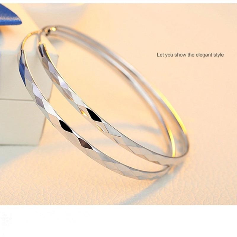 Hoop earrings big hoop for women Platinum plated large Size 40 mm / 50 60 70