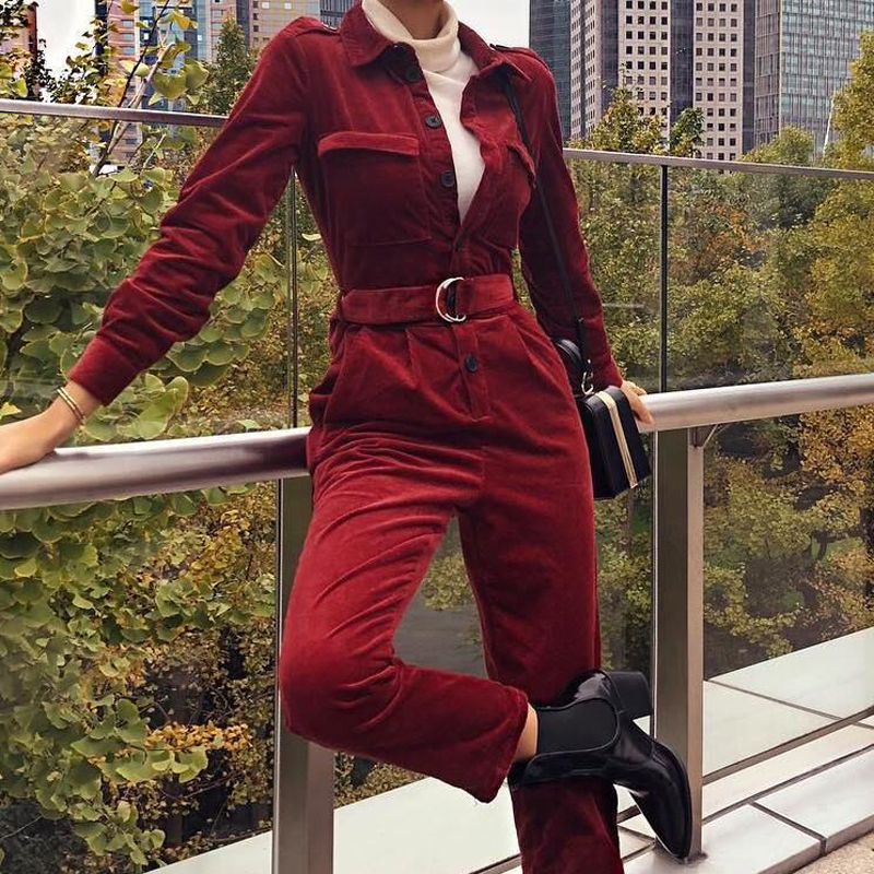 autumn Women Jumpsuits vintage retro Long Sleeve Slim Casual Fashion With Belt slim rompers