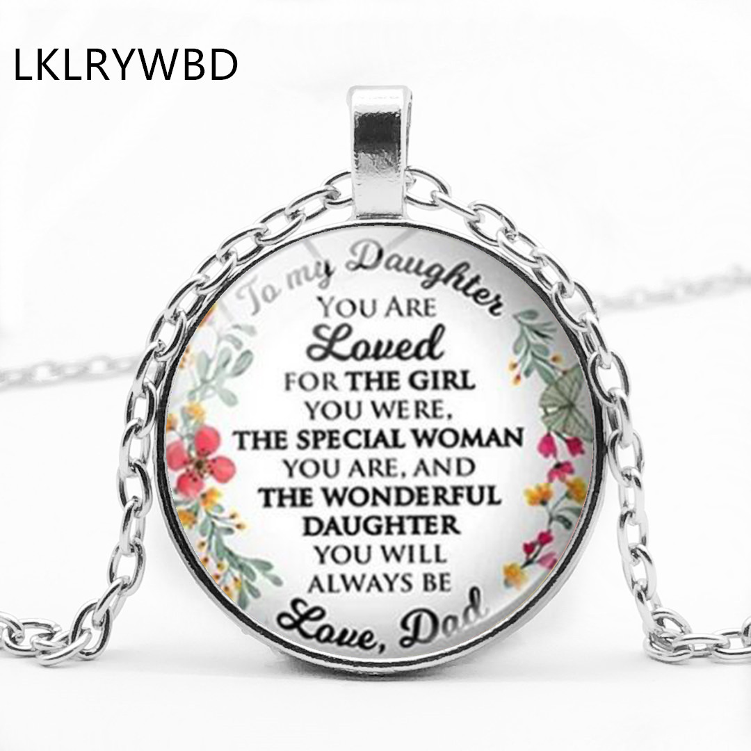 LKLRYWBD / New Vintage Letters Give My Daughters Love Mom and Dads Convex Glass Pendant Necklace