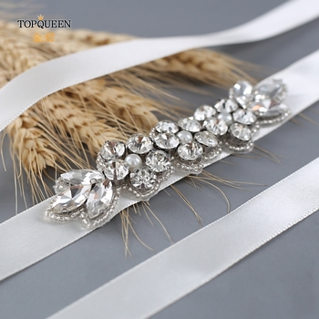 TOPQUEEN Rhinestone Bridal Belt Bridesmaids Dresses For Wedding Dress Diamond Belt Skinny Waist Beads Women's Accessories