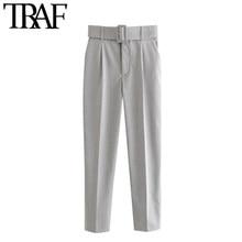 Traf mulheres chique moda escritório wear com cinto calças vintage bolsos de cintura alta feminino tornozelo calças pantalones mujer