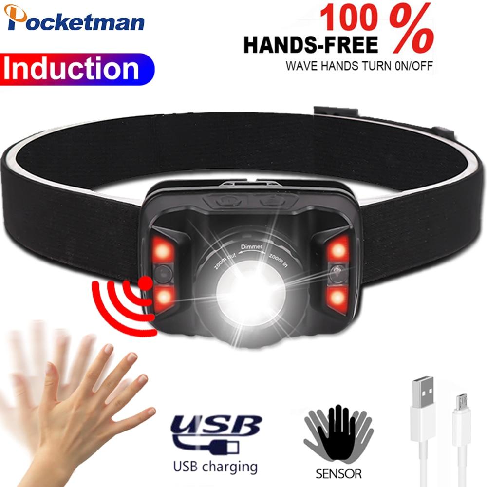 USB Rechargeable Headlight 7000LM Body Motion Sensor Headlamp Waterproof Head Lamp Red Light Head Light With Built-in Battery