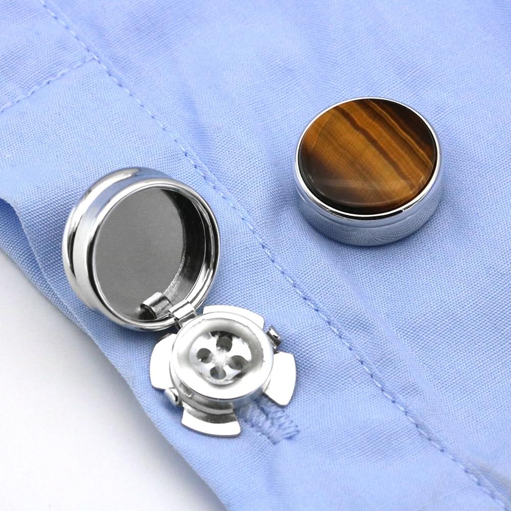 Men's Natural Succinite Stone Cufflinks For Normal Shirt Business Dress Cuff Button Cover Decoration Wedding Cuff Links